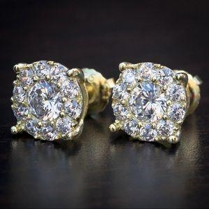 14K Gold Round Cut Cluster Stud Earrings